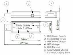 USB In-Line Voltmeter, Ammeter, Charging Capacity Meter, Battery Meter